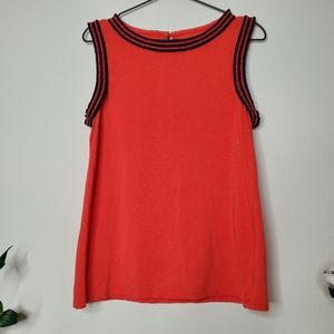 Talbots Pleated Ribbon Trimmed Coral Tank